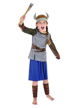 Child Viking Girl Costume - Back View