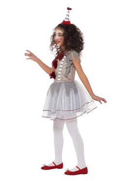 Child Vintage Clown Girl Costume - Back View