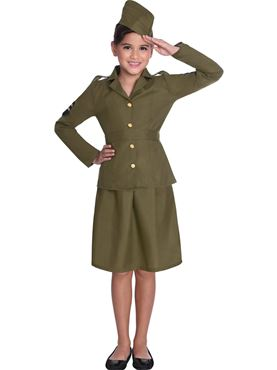 Child WW2 Army Girl Costume - Side View