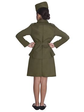 Child WW2 Army Girl Costume - Back View