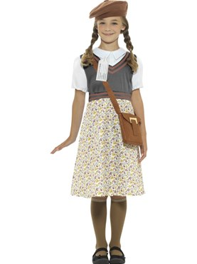Child WW2 Evacuee School Girl Costume Couples Costume