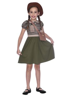 Child WW2 Evacuee School Girl Costume - Side View