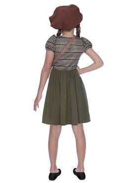 Child WW2 Evacuee School Girl Costume - Back View