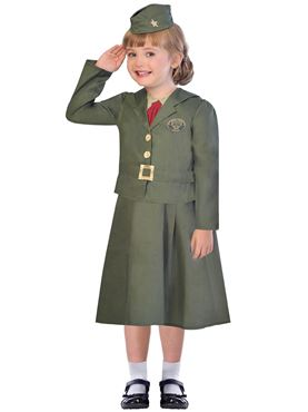Child WW2 Girl Soldier Costume Couples Costume