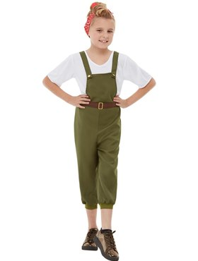 Child WW2 Little Land Girl Costume - Back View