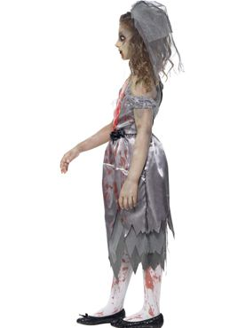 Child Zombie Bride Costume - Back View