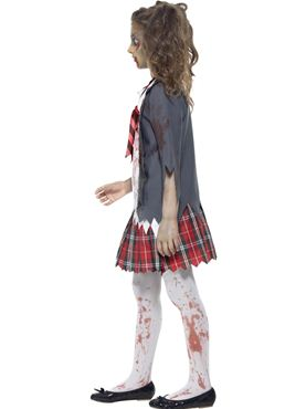Child Zombie School Girl Costume - Back View