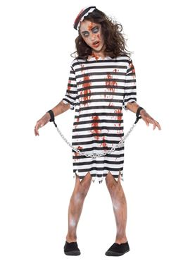 Child Zombie Convict Girl Costume - Side View