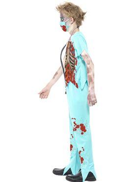 Child Zombie Surgeon Costume - Back View