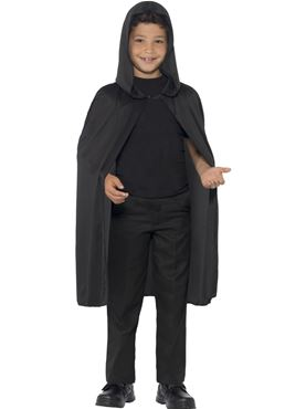 Child Hooded Black Cape Couples Costume