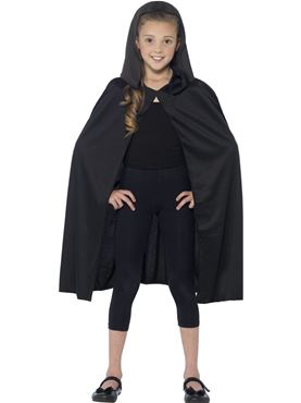 Child Hooded Black Cape - Back View