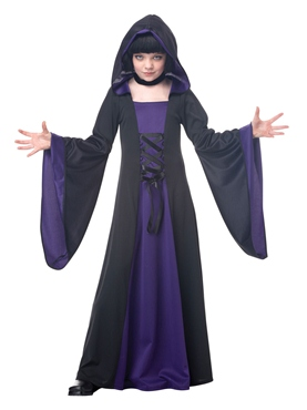 Child Purple and Black Hooded Robe