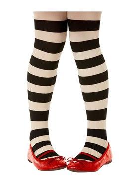 Childs Santoro Black and Cream Striped Tights