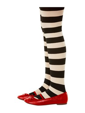 Childs Santoro Black and Cream Striped Tights - Back View