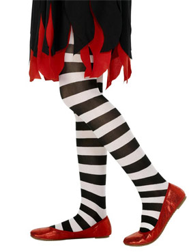Childs Striped Tights Black And White
