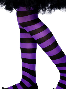 Childs Striped Tights Purple And Black