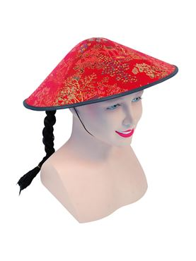 Chinese Coolie Hat with Plait