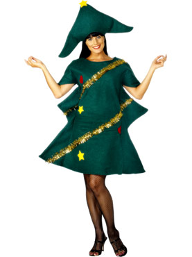 Adult Christmas Tree Costume - Back View