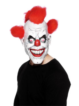 Clown Three-Quarter Mask With Red Hair