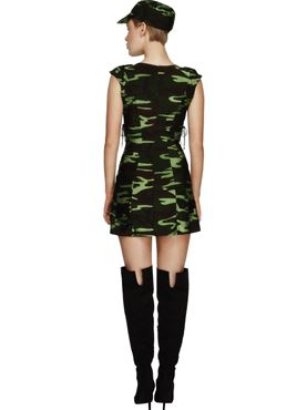 Adult Fever Combat Army Girl Costume - Side View