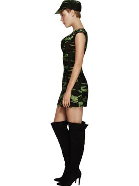 Adult Fever Combat Army Girl Costume - Back View