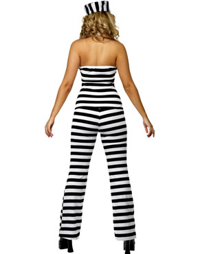 Adult Convict Cutie Costume - Back View