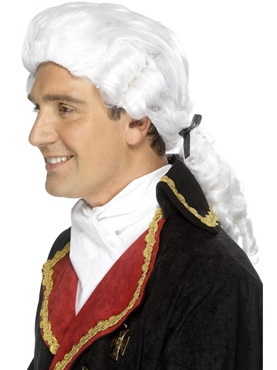 Court Gents Wig White Nylon