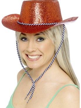 Cowboy Glitter Hat Red Pvc