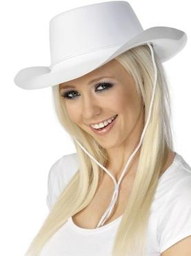 Cowboy Hat White - Back View