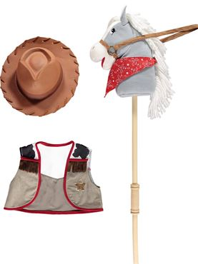 Cowboy Hobby Horse Set - Back View