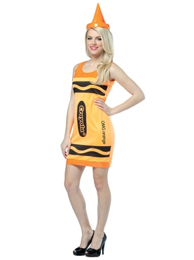 Adult Crayola Crayons Neon Orange Tank Dress Costume
