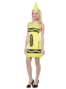 Adult Crayola Crayons Neon Yellow Tank Dress Costume Thumbnail