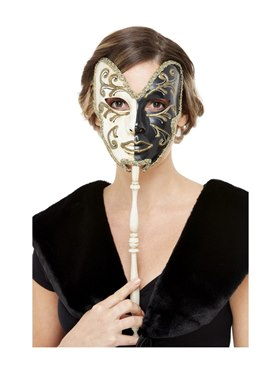 Cream & Black Venetian Mask - Back View