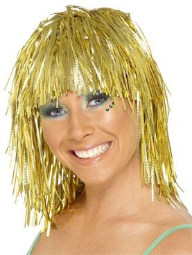 Cyber Tinsel Wig Metallic Gold