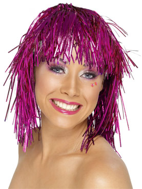 Cyber Tinsel Wig Metallic Pink