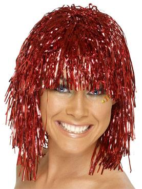 Cyber Tinsel Wig Metallic Red