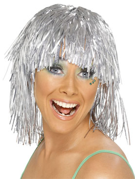 Cyber Tinsel Wig Metallic Silver