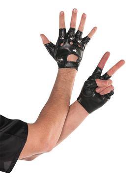Dark Side Fingerless Leather Look Studded Gloves