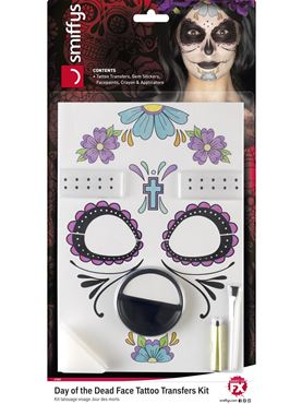 Day of the Dead Face Tattoos Transfer Kit - Back View