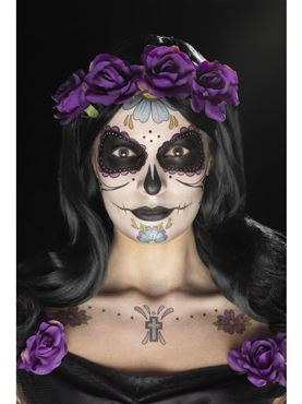Day of the Dead Face Tattoos Transfer Kit
