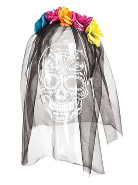 Day of the Dead Headband with Printed Veil
