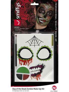 Day of the Dead Zombie Make Up Kit - Back View