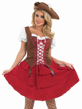 Adult Deck Hand Pirate Girl Costume - Back View