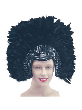 Deluxe Black Feather Headdress