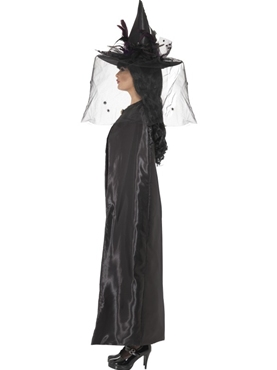 Deluxe Black Witches Cape - Back View