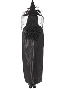 Deluxe Black Witches Cape - Side View