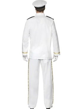 Adult Deluxe Mens Navy Captain Costume - Side View