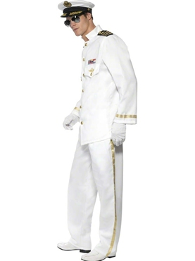 Adult Deluxe Mens Navy Captain Costume - Back View