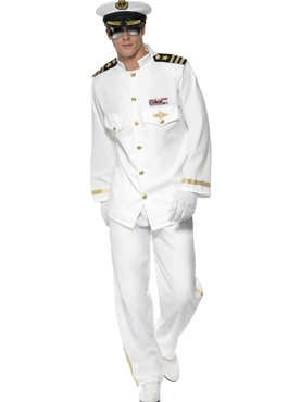 Adult Deluxe Mens Navy Captain Costume