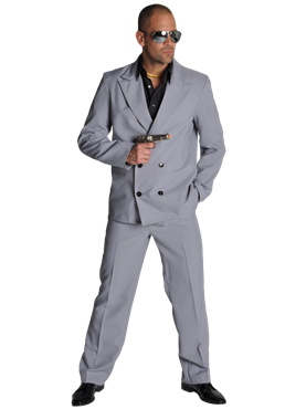 Deluxe Miami Vice 'Rico Tubbs' Grey Suit Couples Costume